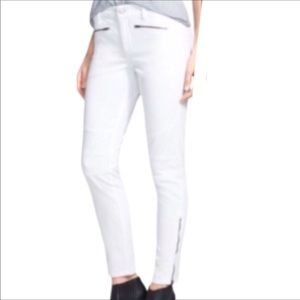 NYDJ White Gina Moto Leggings Zipper Ankle 10